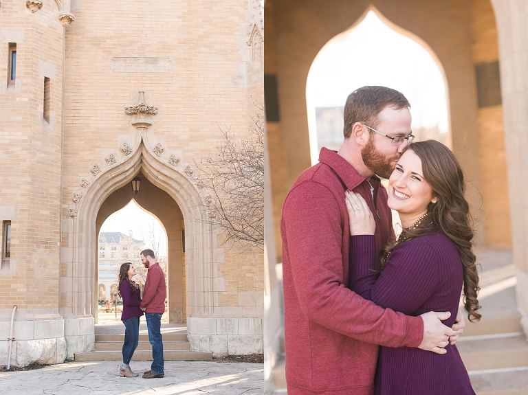 ISU campanile engagement photo
