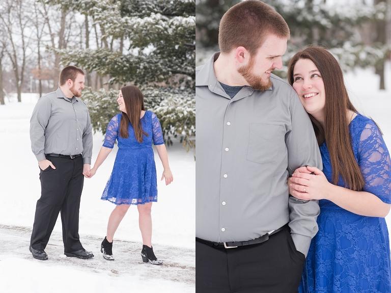 blue dress,cold,engagement session,ethan,indian hills community college,iowa,ottumwa,snow,tara,winter,